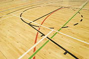Basketball Court Prints - Close Up Of Lines Painted On The Floor Print by Iain  Sarjeant