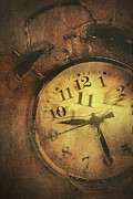 Alarm Clock Posters - Closeup of old clock frozen in ice Poster by Sandra Cunningham