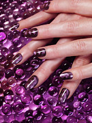 Body Parts Posters - Closeup of Woman Hands With Purple Nail Polish Poster by Oleksiy Maksymenko