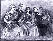Big Bands Drawings - Coed Saxophones by Mel Thompson