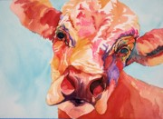 Giraffe Pastels - Colby the Cow by Gayle  George