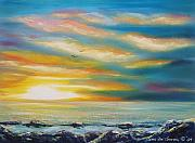 Sunsets Original Paintings - Colorful Sunset by Gina De Gorna
