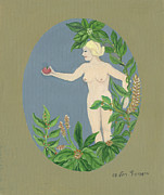 Offers Prints - Come and get it Eva offers a red apple  to Adam in green vegetation leaves plants and flowers blond  Print by Rachel Hershkovitz