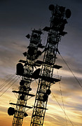 Communications Tower Prints - Communications tower at sunset Print by Sami Sarkis