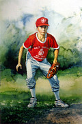 Baseball Art Print Painting Metal Prints - Concentration Metal Print by Hanne Lore Koehler