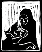 Lino Cut Paintings - Consoling Cow by Edgeworth Johnstone