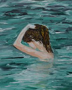 Woman In Water Painting Posters - Cooling Off Poster by Leslie Allen