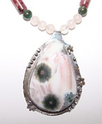 Hand Made Jewelry - Coral Flowers Necklace by Beverly Fox