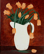 Barbara Griffin - Coral Tulips in a Milk Pitcher