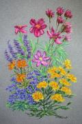 Botanical Pastels Posters - Cosmos Bouquet Poster by Collette Hurst
