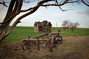 Old Barn Pen And Ink Photo Posters - Country Home and Wagon Poster by Athena Mckinzie