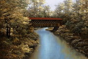 Autumn Prints Prints - Covered Bridge Print by Diane Romanello