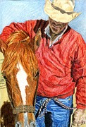 Ranching Drawings - Cowboy  by Judy Garrett