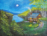 Log Cabin Art Paintings - Cozy Cabin by Leslie Allen