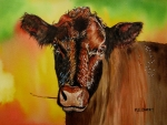 Shoulder Painting Prints - Cracker Moo Print by Maria Barry