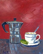 Espresso Paintings - Cuban Coffee and Lime Burgundy by Maria Soto Robbins