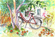 Oranges Drawings - Cycling in Cyprus by Miki De Goodaboom