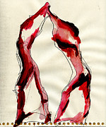 Abstracted Mixed Media Prints - Dancer Forms 1 Print by Mfny