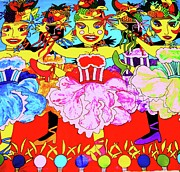 Karen Elzinga Paintings - Dancing girls by Karen Elzinga