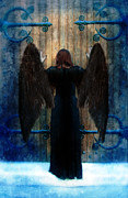 Pleading Framed Prints - Dark Angel at Church Doors Framed Print by Jill Battaglia