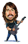 Drummer Metal Prints - Dave Grohl Metal Print by Art
