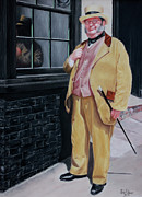 Old House Pastels Posters - Dickens character outside old curiosity shop Poster by John  Palmer
