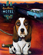 Basset Prints - Did You Forget Something Print by Leah Saulnier The Painting Maniac