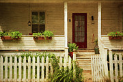 Siding Prints - Digital painting of front porch rural farmhouse Print by Sandra Cunningham