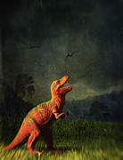 Scifi Prints - Dinosaur toy figure in surreal landscape Print by Sandra Cunningham