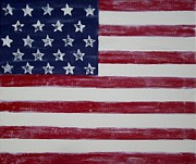 Independence Mixed Media Metal Prints - Distressed American Flag Metal Print by Holly Anderson