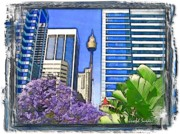 Sydney Photographs Posters - DO-00285 Sydney Centre Tower in Spring Poster by Digital Oil