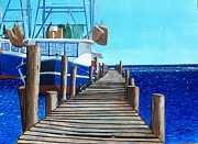 Bayous Painting Prints - Dock 2 Print by Scott Pelham