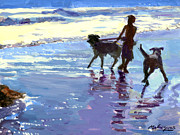 Dog Play Beach Paintings - Dog Beach  by Michael Jacques