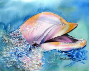 Marine Life Paintings - Dolphin by Maria Barry