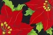 Poinsettias Paintings - Double Red Poinsettias by Carol Sabo