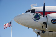 Douglas Dc-3 Framed Prints - Douglas DC-3 and US Flag Framed Print by Jeff Lowe