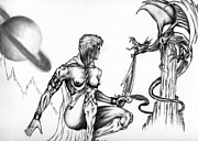 Women Riding Horses Drawings Originals - Dragon Slayer by Audrey Snead