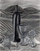 Vineyard Drawings Prints - Dreams of Tuscany Print by Jennifer LaBombard