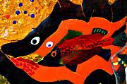 Orange Glass Art Originals - Dreamtime Barramundi detail by Sarah King