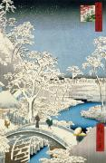 Hiroshige - Drum bridge and Setting Sun Hill at...