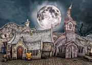 Tower Digital Art - Drunken Village by Jutta Maria Pusl
