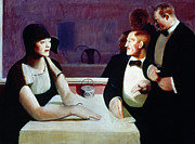 Waiter Painting Prints - Dubois - Dining Out 1925 Print by Granger