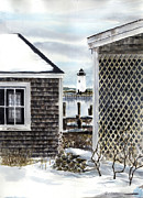 New England Lighthouse Painting Prints - Edgartown Winter Print by Paul Gardner