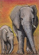 Calf Mixed Media - Elephant Mother and calf  by Jamey Balester