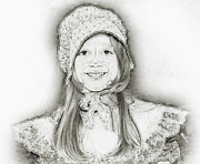 Little Girl Prints - Emma Dressup Portrait Sketch Print by Randy Steele