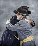 Military Uniform Metal Prints - Enemies no Longer Civil War Grant and Lee Metal Print by Randy Steele