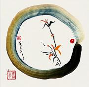 Sumi-e Paintings - Enso Spring by Casey Shannon