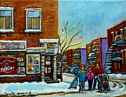 Evening Scenes Paintings - Epicerie Depanneur Beaulieu Montreal by Carole Spandau