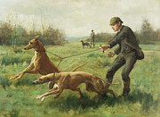 George Goodwin Kilburne - Exercising Greyhounds