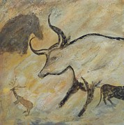 Prehistoric Mixed Media - Extinction Series-Auroch Cave Painting by Kristine Anderson
